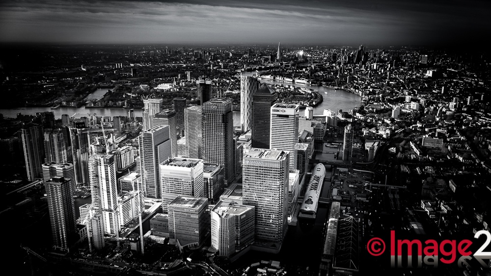 Dramatic Aerial photograph Canary Wharf